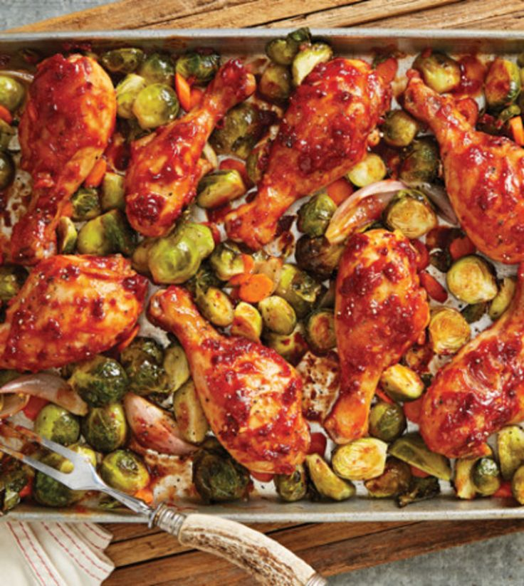 Barbecue Chicken Drumsticks with Roasted Brussels Sprouts & Carrots image