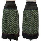 Pure Cotton Skirt Woman Wear Green Floral Summer Evening Beach Dress India Sz L