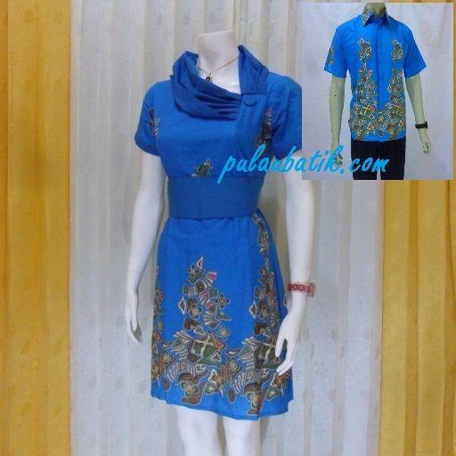 Dress batik warna biru dalam desain sarimbit batik pasangan yang elegan dan cantik