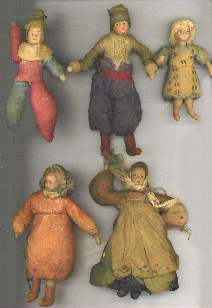 Group of Russian batting ornaments with painted costumes early 20th c collection of  Linda Pastorino