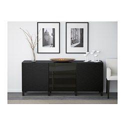 BESTÅ Storage combination w doors/drawers - Laxviken black/Selsviken high-gloss/black, drawer runner, push-open, 180x40x74 cm - IKEA