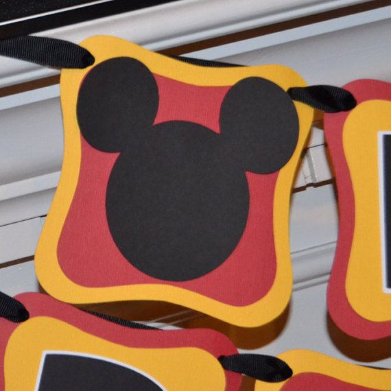 Mickey Mouse Happy Birthday Banner, Classic Mickey Mouse