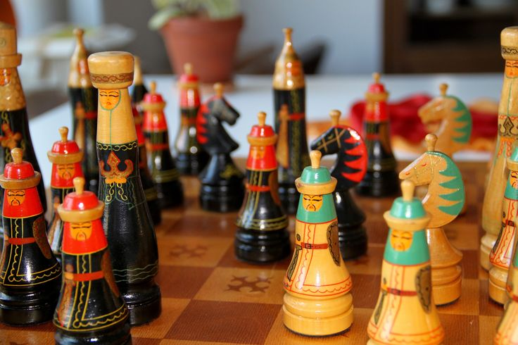 Vintage Original Hand Painted  Chess Set from Soviet Union-Mongolia-1970's.(Schachspielset aus der Sowjetunion)-Made in USSR-RARITÄT!(18) von SovietGallery auf Etsy