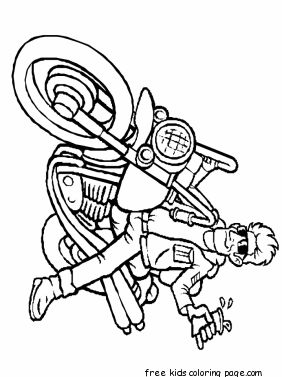 boy on motorcycle coloring page