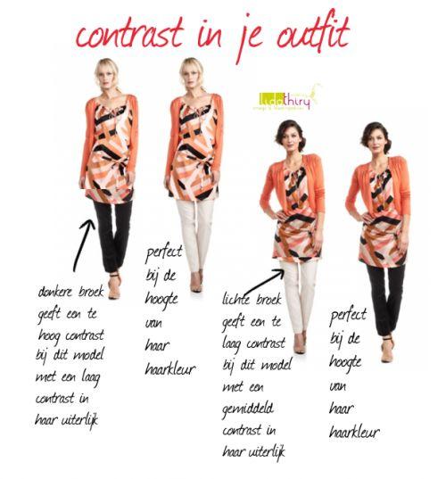 Om er  goed uit te zien is niet alleen de 'temperatuur' van je kleuren belangrijk, maar ook de mate van contrast die je in je kleding aanbrengt | www.lidathiry.nl |