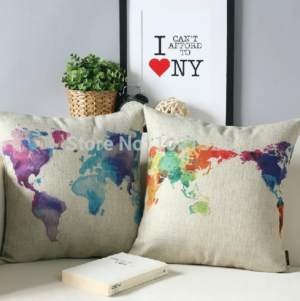 Map of World colorful ikea pillow case decorative cushion covers linen world map pillow cover set sofa decor