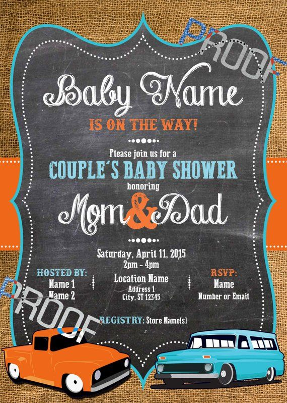 Vintage Car Baby Shower Invitation Digital File 5x7