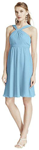 New Trending Pants: Short Crinkle Chiffon Bridesmaid Dress with Halter Style F15600, Capri, 12. Special Offer: $69.99 amazon.com Classic silhouette with a modern twist, this bridesmaid dress is ultimately flattering for any affair! Sleeveless crinkle chiffon bodice features y-neckline. Pleated waist band helps define the silhouette. Fully lined. Back zip. Imported polyester. Dry...