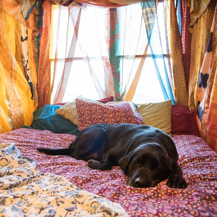 Create Your Own Boho Canopy Bed in Less Than an Hour w/ Recycled Silk Curtains — Mexicali Blues Blog