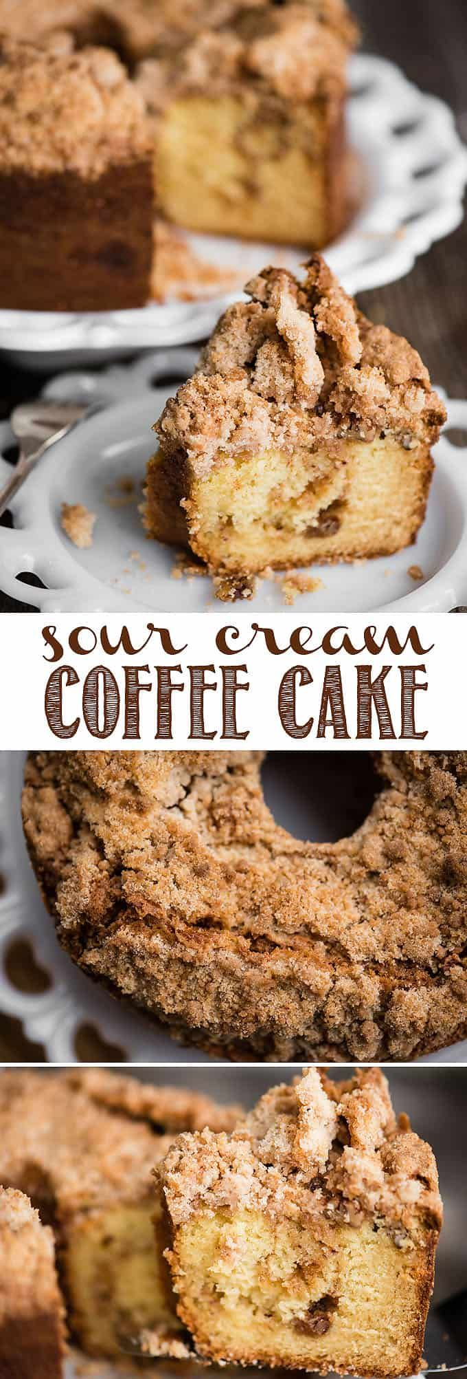 Sour Cream Coffee Cake, with a sweet and crunchy streusel topping and a cinnamon… – Recipes to try