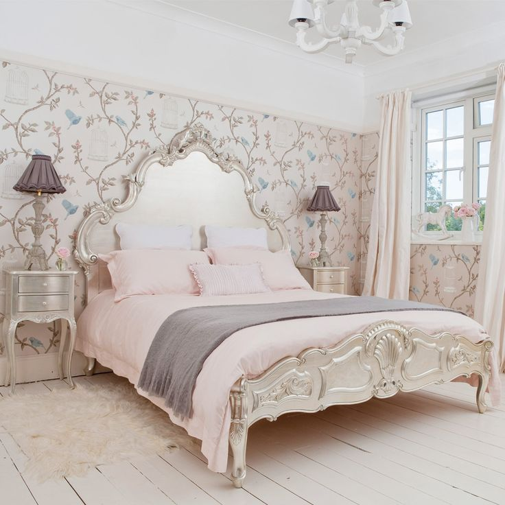 Sylvia silver luxury bed fitted with luxurious 380-count French Ladder pink bed linen.