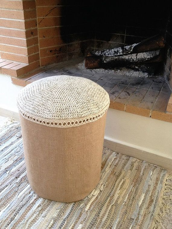 Crochet Knitted Stool with Wooden Base Canvas Stool by YellowByZoe