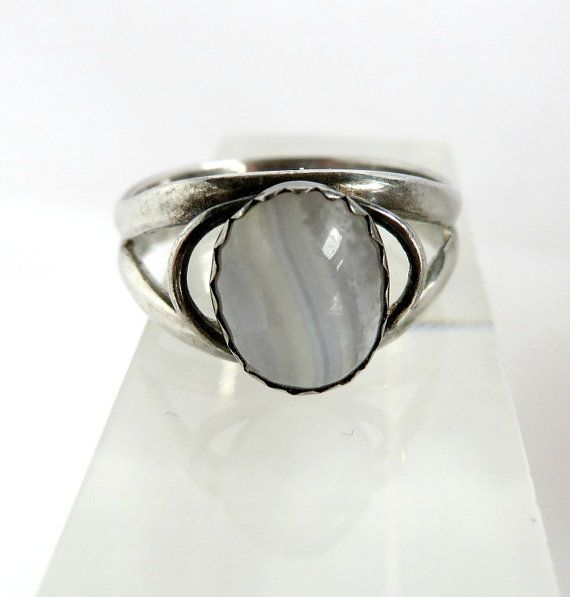 Vintage Sterling Silver White Cats Eye Ring by LeesVintageJewels