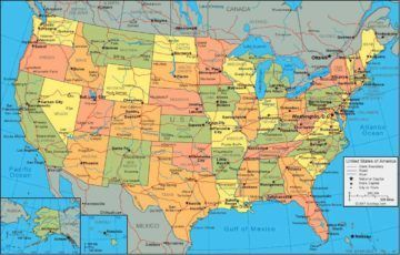 Example of a Political Map | United states map, States in ...