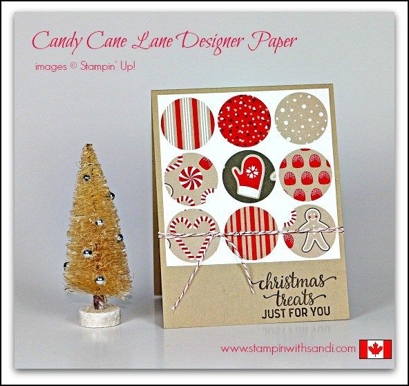 """Card base, 4"""" x 4"""" layer, nine 1 1/4"""" circles or squares of DSP or embossed card stock, sentiment, twine or ribbon."""