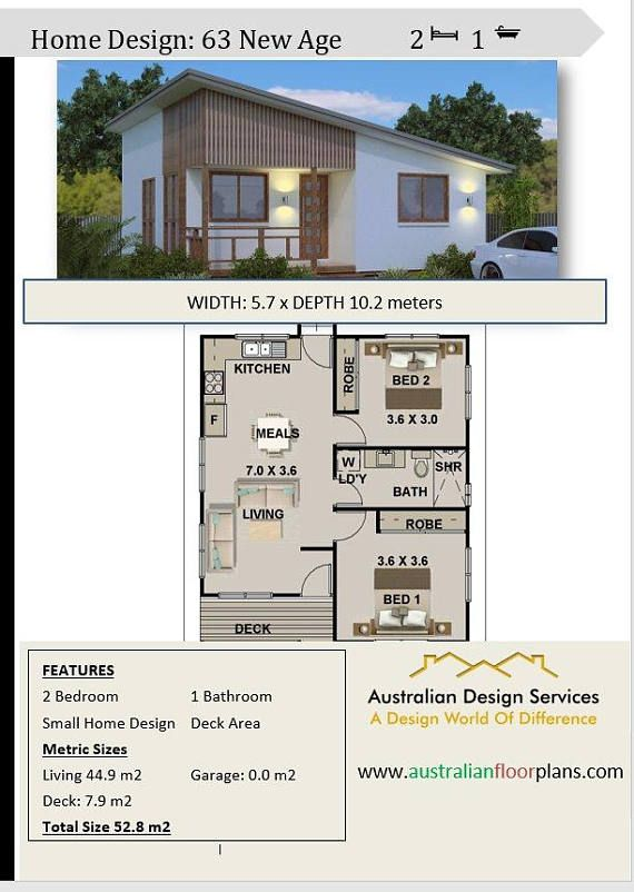 New Age Small House 2 Bedroom Granny Flat Living 59 1 M2 Etsy House Roof Design House Plans Roof Design