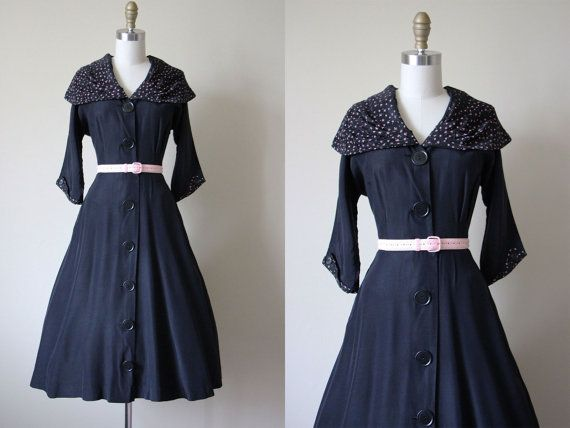 40s Dress  Vintage 1940s Dress  Black Pink Rayon Coat Dress