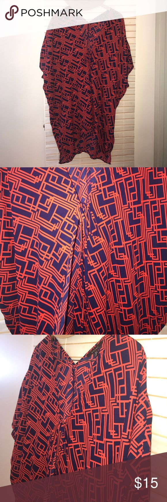 Beach coverup or kimono Red (almost a dark burnt orange) & navy blue Kimono style beach cover up. Large oversized fit worn best over your favorite bathing suit. Bat wing arms with large arm holes. Tie front mid bust line. Front hem is shorter than back. Small v-neck back. Could also be worn as a duster. Pics don't do this justice. It's adorable on. Will fit small to medium. 100% polyester Swim Coverups