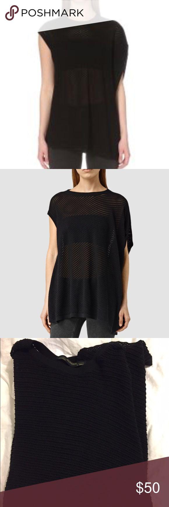 Allsaints Grid tee Black Asymmetrical black tee, sheer, ribbed texture. Great over leggings All Saints Tops Tees - Short Sleeve