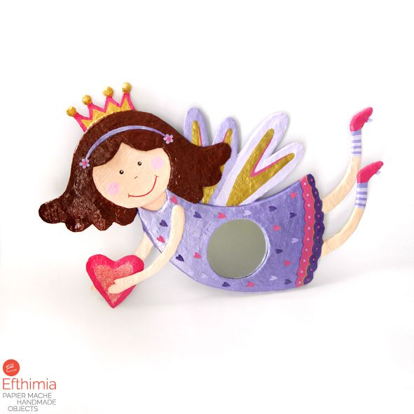 Papier mache fairy mirror. Sweet and adorable in bright hues of purple, pink and gold. By EfthimiaPapierMache.