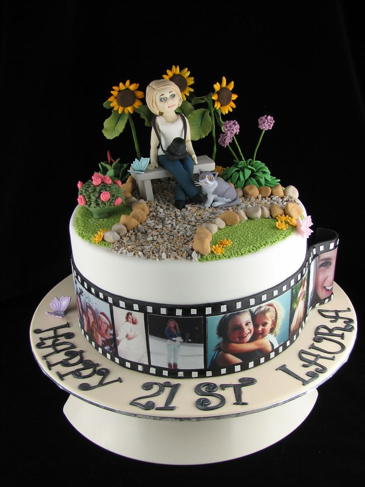 This cake is a marbled chocolate mud cake with milk chocolate ganache filling. I have included the birthday girl herself on top of the cake with her camera and cat in a miniature garden setting. Around the cake are some treasured moments from Laura's life in edible photos.