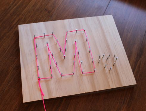 String letters See Cool String Art by Anders Hanson & Elissa Mann (J 516 HAN) for instructions on making letters without wood/nails - uses pins & glue to stiffen the string for a stand-alone letter.