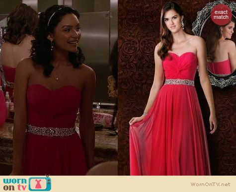 Lexi and Callie's strapless pink dresses on The Fosters.  Outfit details: http://wornontv.net/16518/