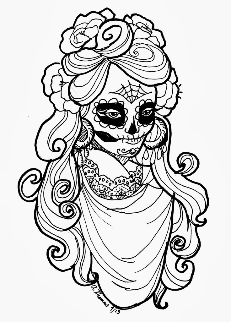Sugar Skull Adult Coloring Page by Andrea Thomas | Free Printable | Halloween Calaveras Dia de los Muertos Day of the Dead Pattern
