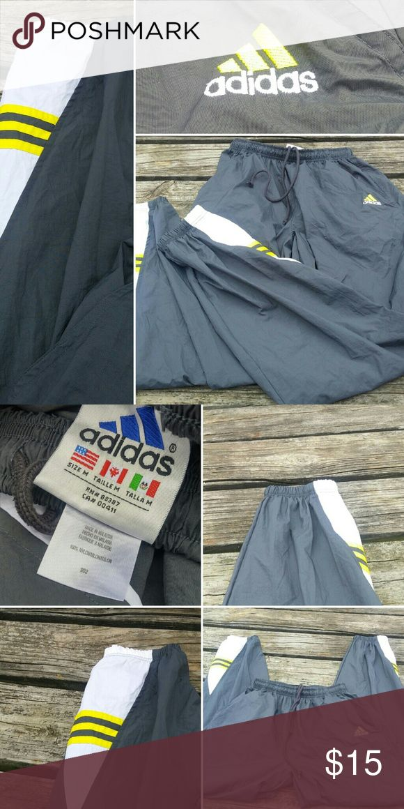 "VINTAGE ADIDAS JOGGING PANTS SIZE M INSEAM 31 Vintage Adidas jogging pants ugh these bring back memories of the 90's for me being a kid my mom buying us kids jogging suits with that swishy sound as you walk !! Inseam is aprox. 31"" waist is elasict band of course but not stretched it lays flat at 11.5"" They are gently loved no rips tears holes or stains ! Ship mon. Wed. Fri. Offers welcome adidas Pants Track Pants & Joggers"
