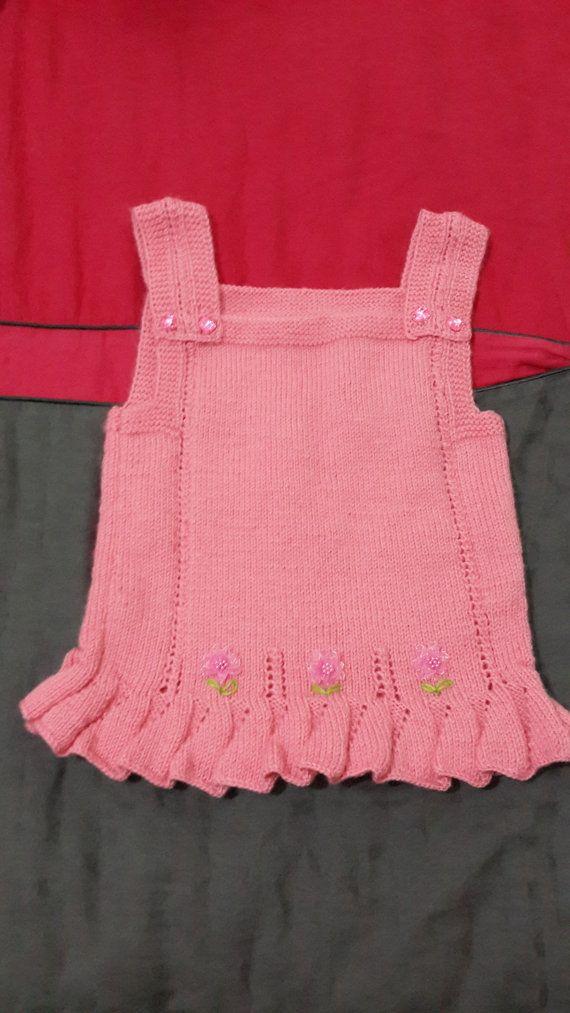 Knitting Skirt For Baby : Hand knitted baby dress for girls aged pink halter