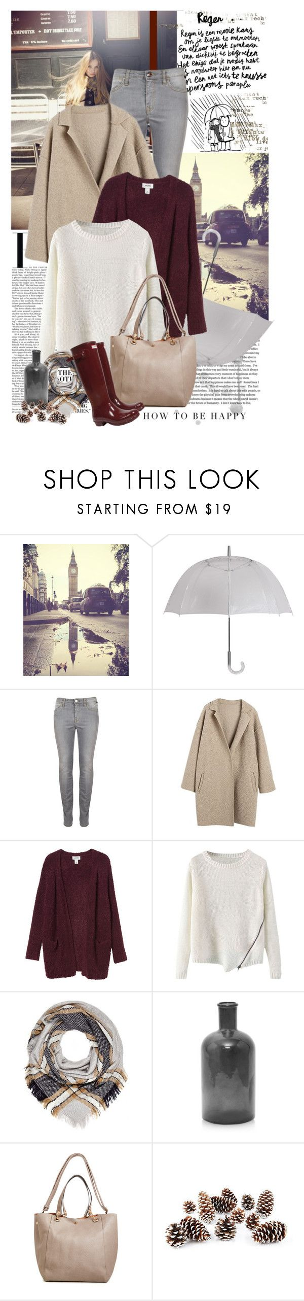 """""""happy rainy day"""" by jesuisunlapin ❤ liked on Polyvore featuring Nicki Minaj, ANNA, Again, Leighton, Vivienne Westwood Anglomania, Monki, River Island, French Connection, Hunter and Knud Nielsen Company"""