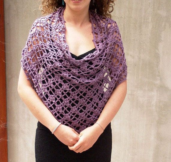 Hand crocheted Lace Poncho Grape Capelet Shrug by HEraMade on Etsy, $79.00