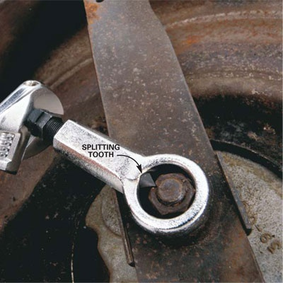 DIY Tip of the Day: Using a Nut Splitter for Rusted Nuts. A nut splitter will crack any no-go nut without damaging the threads of the bolt or stem that it's screwed onto. Just slip the ring over the nut and turn the tooth into the nut until it breaks. Find nut splitters (http://shout.lt/c5Hz) online or at tool stores.