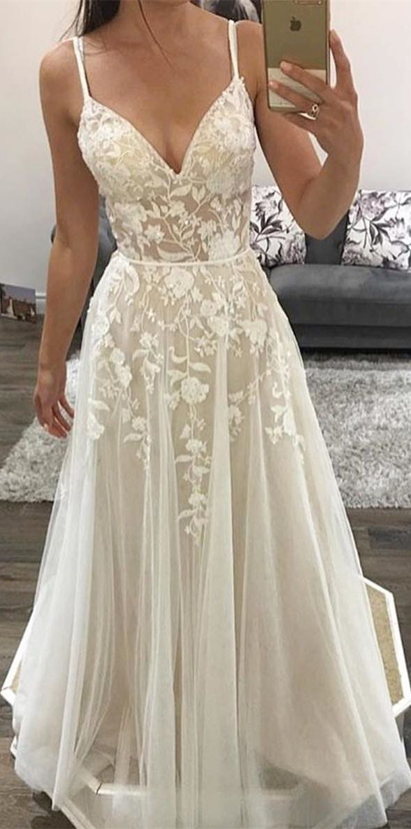 c7069f3fbf8 A-Line Spaghetti Straps Floor-Length Wedding Dress with Appliques in ...