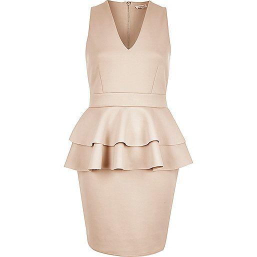 Light pink double peplum dress