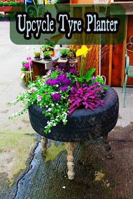 use my old tires creative diy container garden idea using an old tire and table the greenhouse diaries