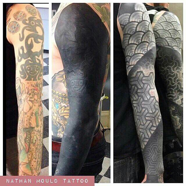 inked, tattoo cover up, black and white, wowww