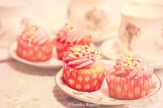 Vintage style photography pink cupcakes and by behindmyblueeyes