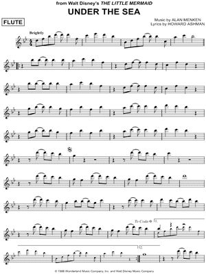 """Under the Sea"" from 'The Little Mermaid' Sheet Music (Flute Solo) - Download & Print"