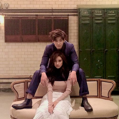 BTS photo of Song Jae Rim and Kim So Eun's photoshoot for Allure Magazine