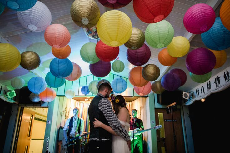 colourful multicoloured lanterns at wedding reception