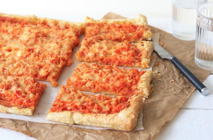 Plaattaart met paprika en wortel - Chickslovefood.com