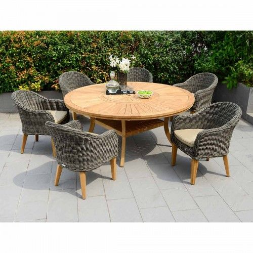 Lifestyle Garden Guam Gartenmobelset 7 Teilig Mit Komodo Teakholz Tisch Grau Braun Garden Furniture Sets Round Dining Set Garden Table And Chairs
