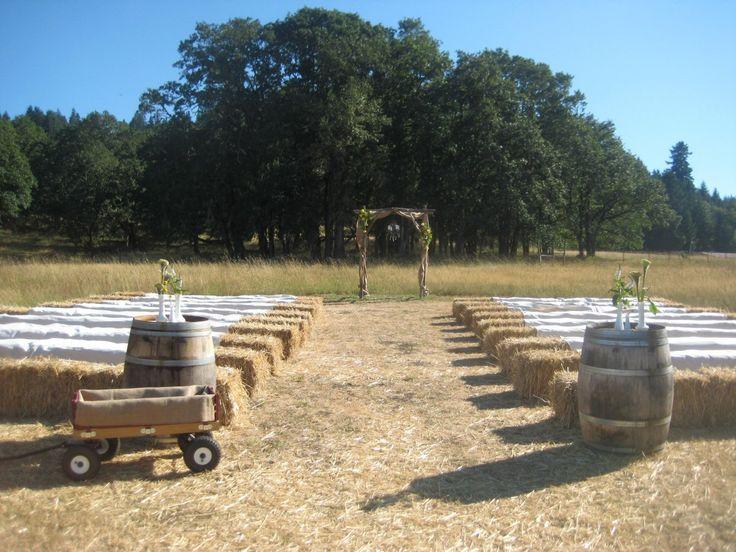 hay bale seating outdoor wedding