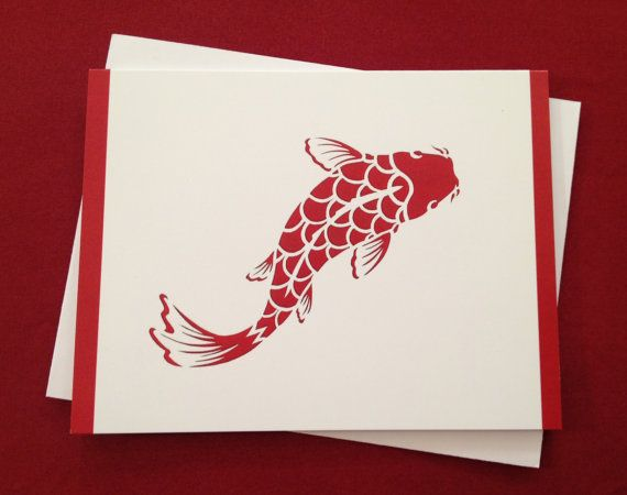 12 koi japanese carp greeting card    note card by