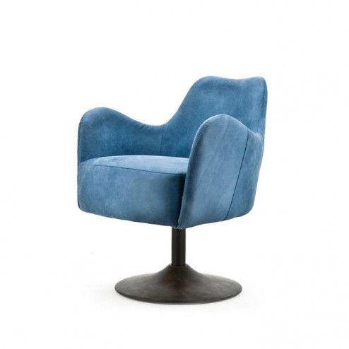 Eleonora Fauteuil 'Tom' kleur blauw leder