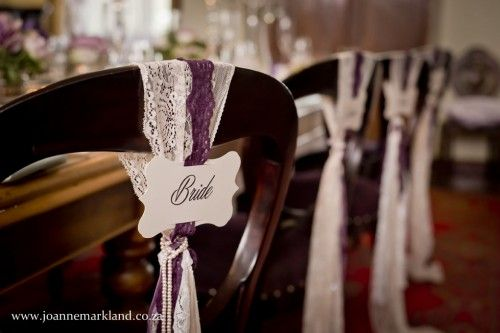 DIY Wedding Chair Detailing. Lace. Name Place Cards. Chairs