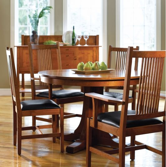 Stickley Mission Pedestal Table In Cherry Wood