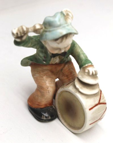 4-Alpine-Band-Ceramic-Figures-Drummer-Tuba-Player-Accordion-Trumpet-Made-Japan