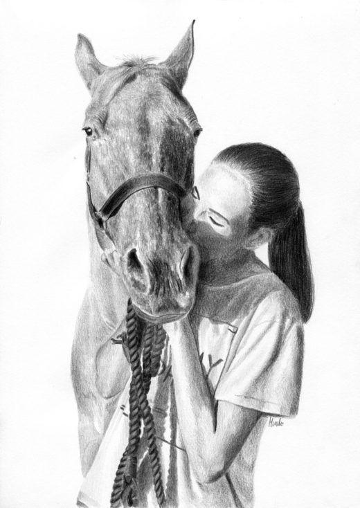 Rysunek konia i czarnowłosej dziewczyny